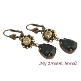 Oorhangers Vintage Swarovski Flower Black/Crystal