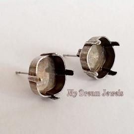 DQ Oorstekers voor Swarovski 4470 vierkant 12mm in 6 kleuren platings