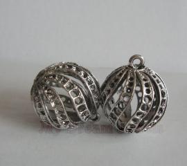 Bedel Antiek Zilverkleurig Bal voor Diverse Swarovski puntstenen