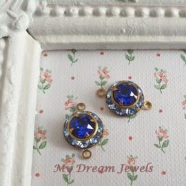 Vintage Swarovski Tussenzetsel Light Sapphire/ Majestic Blue/ 2 st