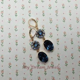 Oorhangers Vintage Swarovski Flower Blue Sapphire