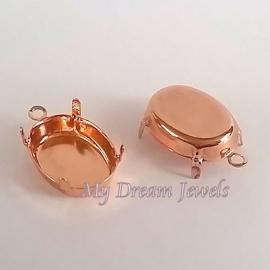 DQ Hanger Rosé Gold voor Swarovski Ovaal 18x13mm