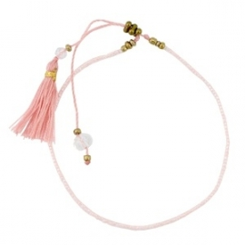 Armband met minikraal en kwastjes Vintage Roze