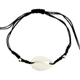 Armband met schelp Zwart