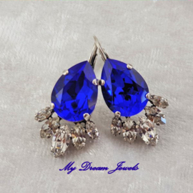 Luxe Oorbellen Swarovski Majestic Blue/Crystal