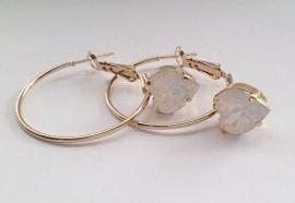 Creolen Goud Hart Swarovski White Opal