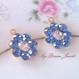Swarovski Bloem hanger Sapphire Blue Crystal