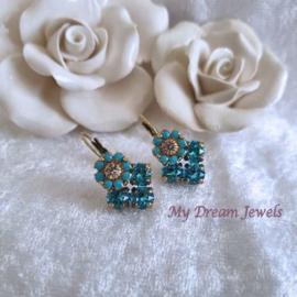 Oorbellen Swarovski Vintage Flower Turquoise/Light Turquoise