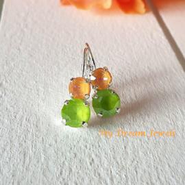 Oorbellen Swarovski Peach Delite/Lime