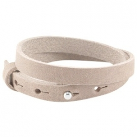 LC Armband Dubbel Nubuck Leer 10mm Soft Satin Brown