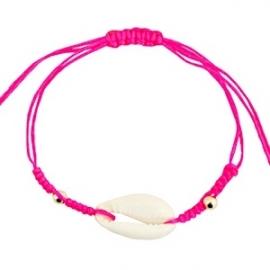 Armband met schelp Neon Pink