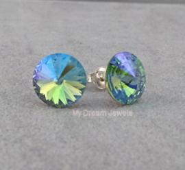 Sterling Silver oorstekers met Swarovski Rivoli Peridot Star