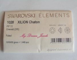 Swarovski 1028 Emerald 1,7mm Volle verpakking