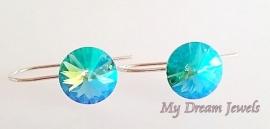 Sterling Silver 925 oorbellen met een Swarovski Rivoli Light Turquoise Star