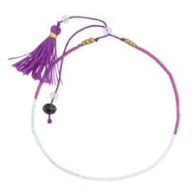 Armband met minikraal en kwastjes Purple White-Mint