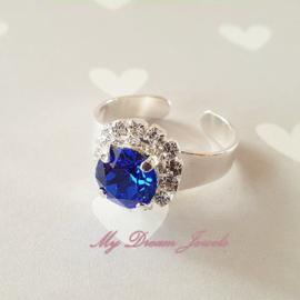 """Zilverkleurige Ring met Swarovski Crystal """" Crystal/ Majestic Blue """""""