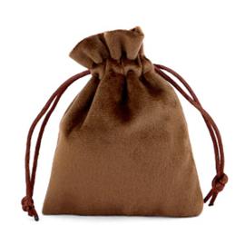 Sieraad cadeau zakje Velvet Dark Brown