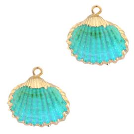 Schelp Hanger Turquoise Blauw met Goud
