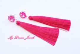 Swarovski Oorstekers met Zijde look Kwastjes Fuchsia/Hot Pink