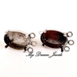 DQ Oorbellen  met 3 ogen Antiek Zilverkleurig voor Swarovski Ovaal 4120 18x13mm