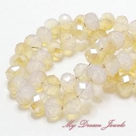Facet Kralen White Opal Gold  8x6 mm per 5 stuks