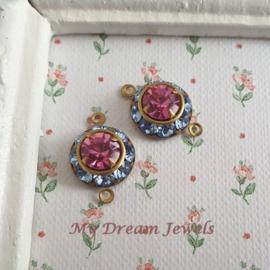 Vintage Swarovski Tussenzetsel Light Sapphire/Rose/ 2 st