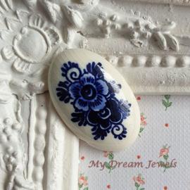 Vintage Cabochon Delfts Blauw Bloemen  ( 20x33mm )