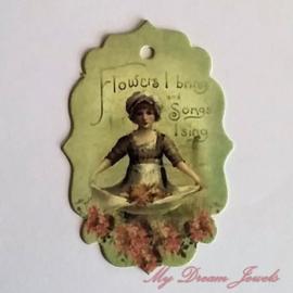 Romantisch Vintage Look Label Meisje per 3 stuks