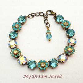 Armband Vintage Swarovski Flower Turquoise