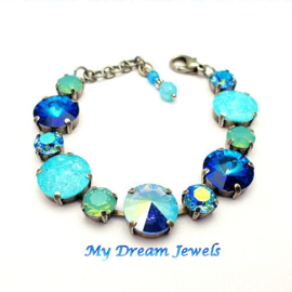 Armband Aqua Blue Sparkles met o.a. Swarovski Crystal