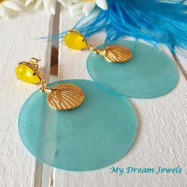 Oorstekers Swarovski Summer Sunshine Yellow Turquoise