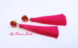 Swarovski Oorstekers met Zijde look Kwastjes Fuchsia/ Astral Pink