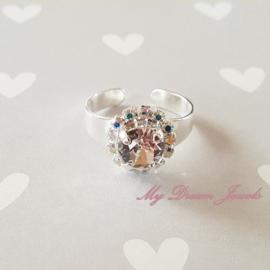"""Zilverkleurige Ring met Swarovski Crystal """" Crystal AB/Crystal """""""