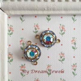 Vintage Swarovski Tussenzetsel Light Sapphire/Crystal AB/ 2 st