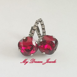 Luxe Swarovski Oorbellen Square Ruby Exclusive