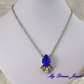 Luxe Ketting met Swarovski Majestic Blue/Crystal