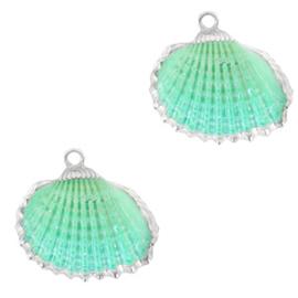 Schelp Hanger Turquoise groen met Zilver