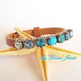 Cuoio leren armband met Swarovski Crystal Turquoise