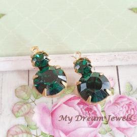 Vintage Swarovski Duo Hanger Emerald/ 2 st