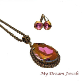 Luxe Ketting met Swarovski druppel Lilac Shadow