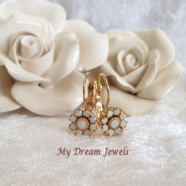 Oorbellen Vintage Swarovski Flower White
