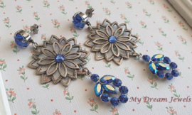 Vintage Stijl Filigree Oorstekers met Swarovski Sapphire