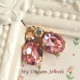 Vintage Swarovski Hanger Ovaal Crystal AB/ Light Rose/ 2 st