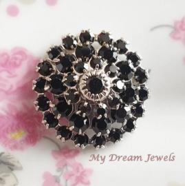Vintage Swarovski Flower Component Jet Black