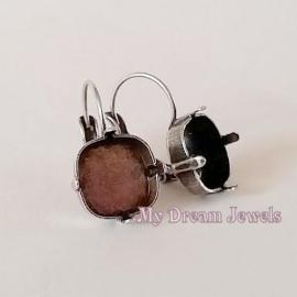 DQ Oorbellen recht voor Swarovski 4470 vierkant 12mm in 6 kleuren platings