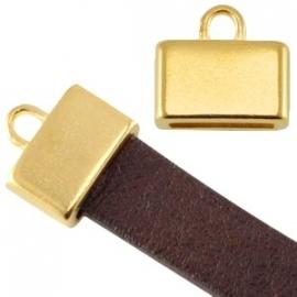 DQ Eindkapje Vierkant Goudkleurig voor plat leer 10mm
