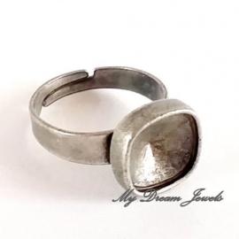 DQ Ring verstelbaar Antiek Zilverkleurig voor Swarovski vierkant 4470 10mm