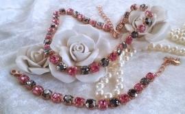 Swarovski Set Collier en Armband Black & Pink