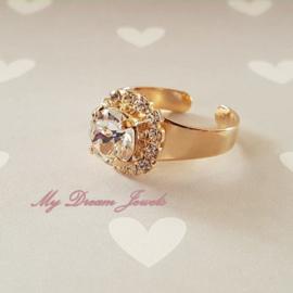 """Goudkleurige Ring met Swarovski Crystal """" Crystal """""""