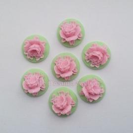 Cabochon Bloem Mint Groen en Roze